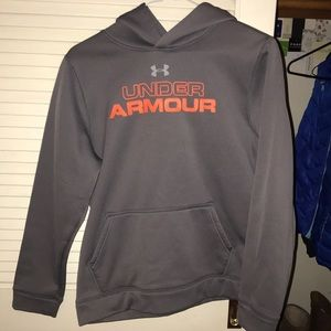 Grey and orange under armour hoodie!